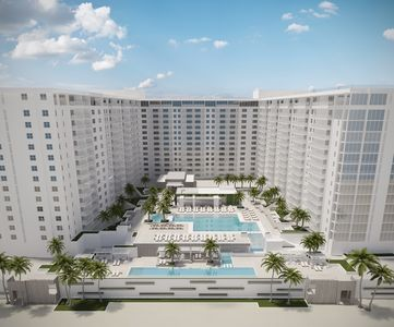 Artist rendering of the One Hotel Pool Area and building.