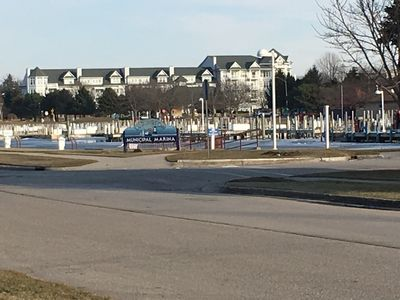 Great view of the Marina from the front yard.