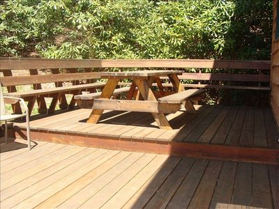 Sit in the sun or use the barbeque for a meal at the picnic table