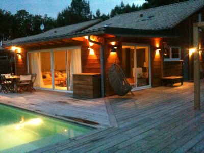 Photo for wooden house deco design, forest, heated pool, ocean