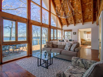 Photo for Remodeled waterfront home with a wrap-around deck, water views & beach access!