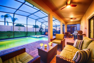 Pool and Patio at Sunset