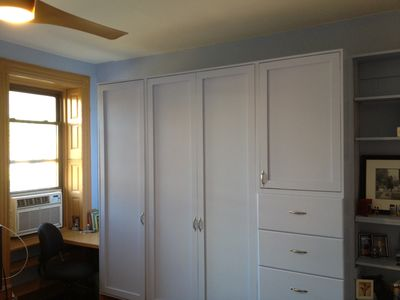 Closet (with your privately controlled heating unit underneath), Desk & Bookcase