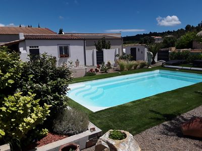 Photo for Nice studio in charming villa with swimming pool near the sea