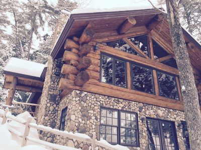Photo for Custom lake view log home 100 feet from the waters edge
