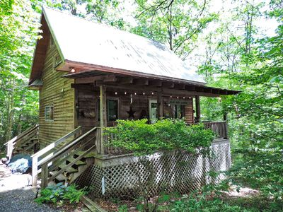 Photo for Quaint Cabin! Fire Pit! Great Covered Deck! Golf, Pool, Lake with Beach!