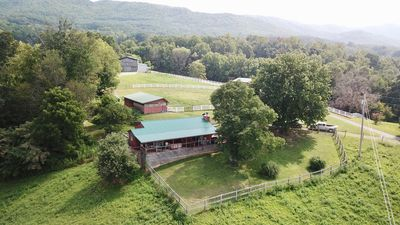 A bird's eye view of the cabin and farm