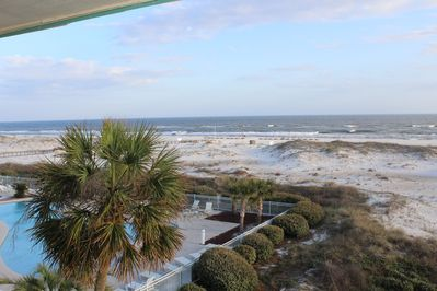 Beach view from this condo's private balcony!