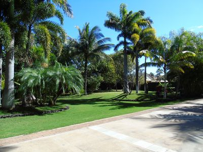 Driveway to the estate with a garden view