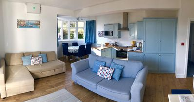 Open plan lounge kitchen & dining area,  double aspect views of St Ives & garden