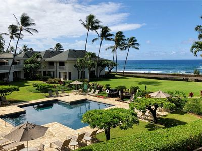 Photo for New! Poipu Beach, Ocean Views, Sunsets, Pool, Tennis, & A/C. Walk to Beach!