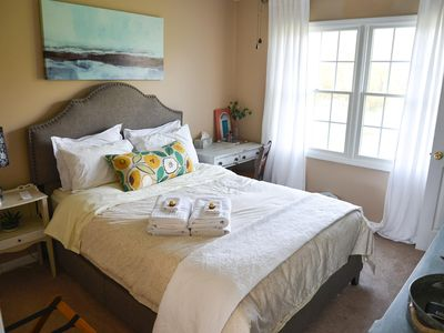 Photo for Bedroom with Queen Size Bed in Bright Family Home