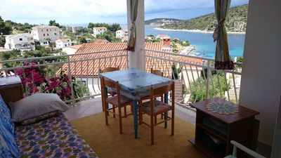 Photo for Two bedroom apartment with terrace and sea view Sevid, Trogir (A-16897-b)