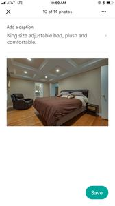King Size adjustable bed, plush and comfortable!