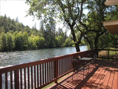 View from cabin deck overlooking the Rogue River
