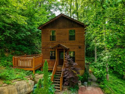 Photo for Romantic Wooded Cabin,1 BDR/1.5 BATH, Sleeps 4, Hot Tub, DirectTV, Close to All