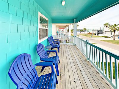 Balcony  - Sip lemonade on the front deck, furnished with 4 Adirondack chairs.