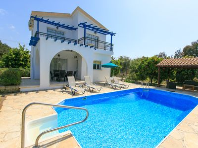 Photo for Sun Beach Villa Tria: Large Private Pool, Walk to Beach, A/C, WiFi, Car Not Required