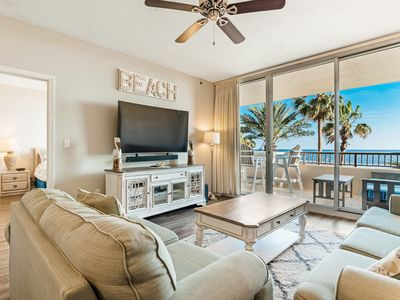 Photo for Beachfront resort condo w/ Bose system + access to pools, gym, hot tub, & spa!