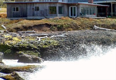 view from ocean side of house, showing wave action