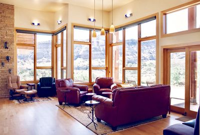 Inviting, comfy couches fill our sitting and reading area.