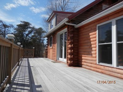 Front of cabin...deck chairs and grill in the summer!