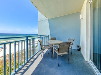 Photo for Gulf-front condo w/ private balcony, beach access & shared hot tub/pool/gym!