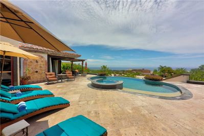 Walk out patio with private pool and jacuzzi