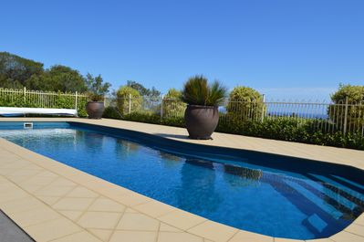 Private salt water chlorinated, solar heated pool