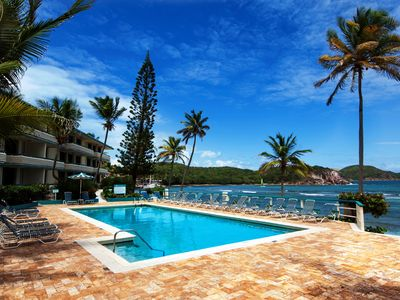 Photo for St. Thomas Prime Oceanfront/Poolfront 2BR/2BA Condo-BEST Bolongo Beach location!