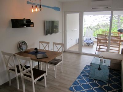 Photo for GOLDFISH 3 Studio apartment, 50 m from the beach, sea view, air conditioning, WiFi, parking