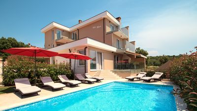 Photo for The newly built stylish villa *****, swimming pool, 500 m from the sea, barbecue, WiFi
