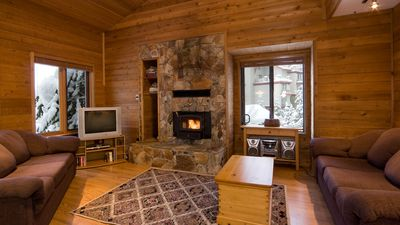Rustic Open Concept Living Area with Fireplace