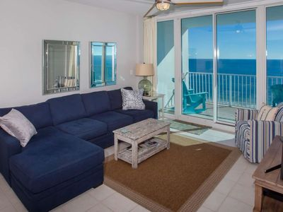 """Photo for Gulf-Front 2/2, Slps 8, Blcny, 60"""" TV, Jet Tub, W/D, Pool/Hot Tub, Free Activities - Lighthouse 908"""