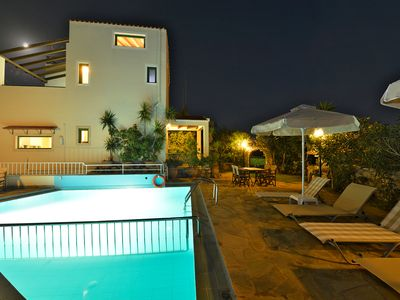 Photo for A villa with private pool and breathtaking panoramic view of Souda Bay