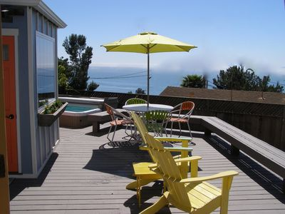 view of studio, relax in the sun, BBQ or relax in the spa, all with Ocean views.