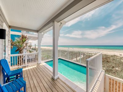 Photo for Luxurious beachfront home w/ covered patios & a private, outdoor pool