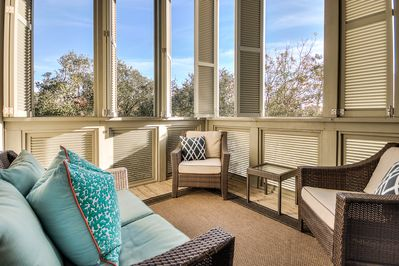 Perfect space for outdoor relaxing. Shutters close for additional privacy