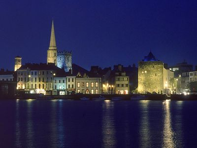Waterford and the river Suir at night