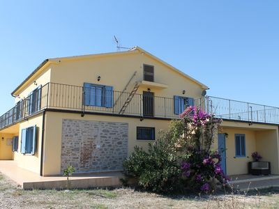 Photo for Newly renovated farmhouse with pool - views of the sea and mountains
