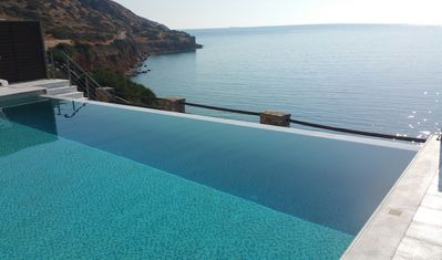 Photo for Crete, exceptional Villa directly on Plaka Beach, Gulf o. Mirambello