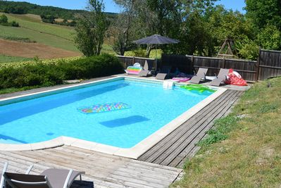 Relax around the fully enclosed pool with stunning views