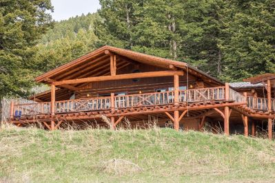 Beautiful deck outside the kitchen's sliding doors overlooking the Bridger Mountains.