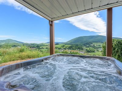 Photo for 6BR Lodge, View of Mtns & Town Below, Hot Tub, Pool Table, 2 King Suites, Near Jefferson, Boone