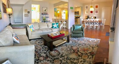 Open living room with TV/DVD, Netflix/Hulu, and board games.