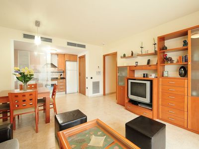 Photo for Lovely apartment for 4 guests with pool, internet, A/C, TV, balcony and parking