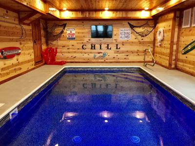 ❤️Private in-Cabin Heated Pool-Game Rm-Theater- King Beds-Views-Sleeps 32-EV1❤️