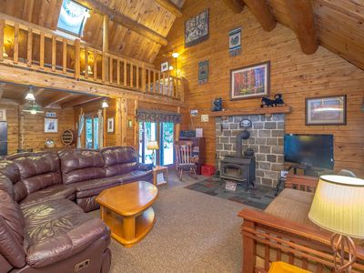 Photo for Luxury Log Home, Near Story Land, Super Clean, Views, Pool In/Out & Fitness.