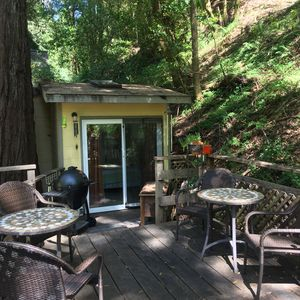 Photo for Cozy Cabin In Redwood Forest - Hottub On Deck With Creek View