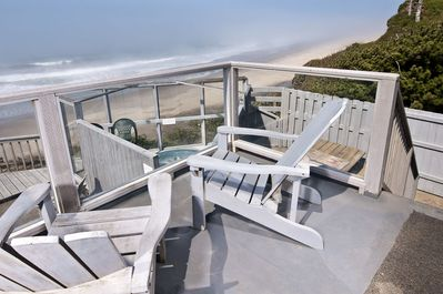Deck - Wooden chairs overlooking your own Private Hot Tub and Oceanfront.